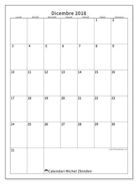 Calendario  dicembre 2018, 52LD
