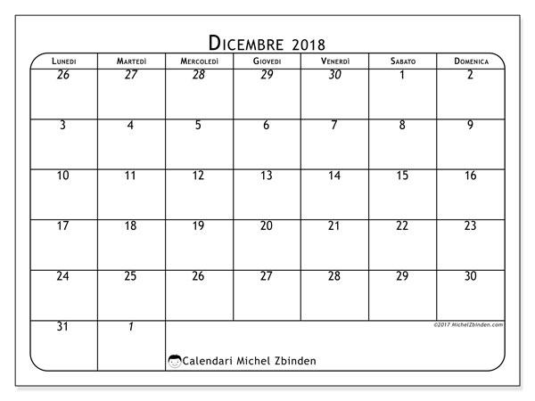 Calendario  dicembre 2018, 67LD