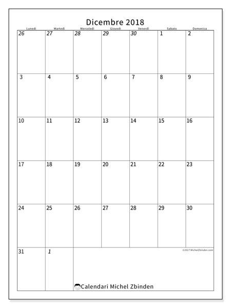 Calendario  dicembre 2018, 68LD