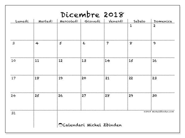 Calendario  dicembre 2018, 77LD