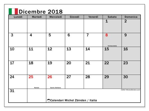 Calendari dicembre 2018, con giorni festivi in Italia. Calendario stampabile gratuito.