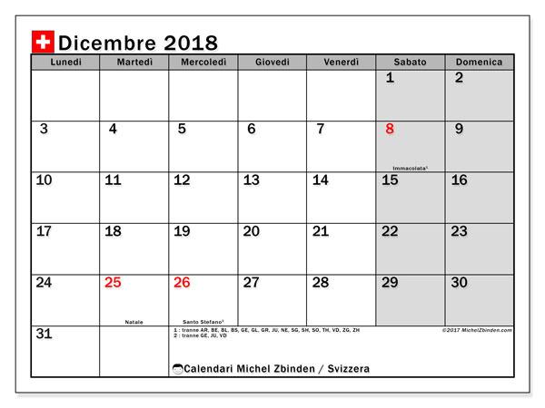 Calendari dicembre 2018, con giorini festivi della Svizzera. Calendario gratuito da stampare.