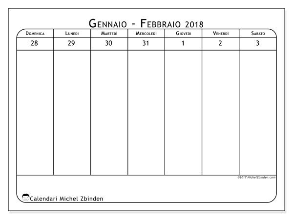 Calendario febbraio 2018 (43-1DS). Calendario per la stampa gratis.