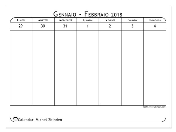 Calendario febbraio 2018 (43-1LD). Calendario settimanale da stampare gratuitamente.