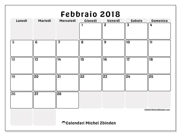 Calendario febbraio 2018 (44LD). Calendario per il mese da stampare gratuitamente.