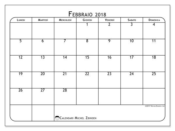 Calendario febbraio 2018 (51LD). Orario da stampare gratis.