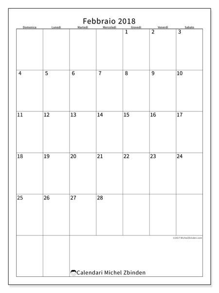 Calendario febbraio 2018 (52DS). Calendario gratuito da stampare.