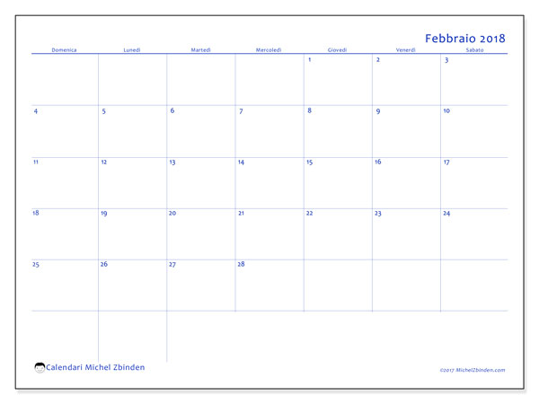 Calendario febbraio 2018 (55DS). Calendario gratuito da stampare.