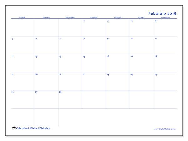 Calendario febbraio 2018 (55LD). Calendario per la stampa gratis.