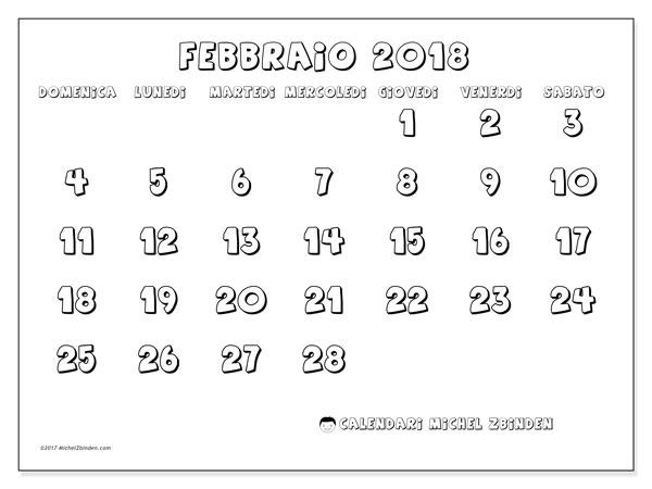 Calendario febbraio 2018 (56DS). Calendario stampabile gratuito.