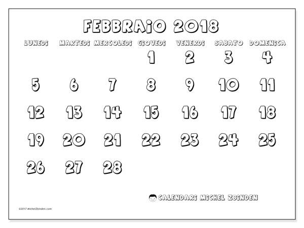 Calendario febbraio 2018 (56LD). Calendario per la stampa gratis.