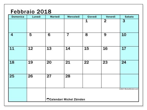 Calendario febbraio 2018 (59DS). Calendario da stampare gratis.