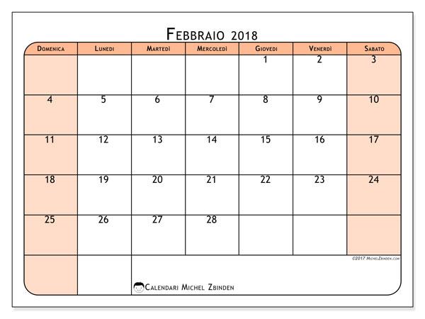 Calendario febbraio 2018 (61DS). Calendario per la stampa gratis.