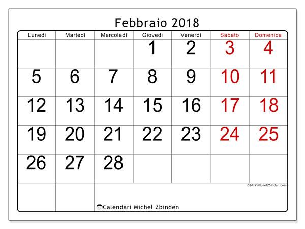 Calendario febbraio 2018 (62LD). Orario da stampare gratis.