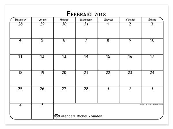 Calendario febbraio 2018 (67DS). Calendario da stampare gratis.