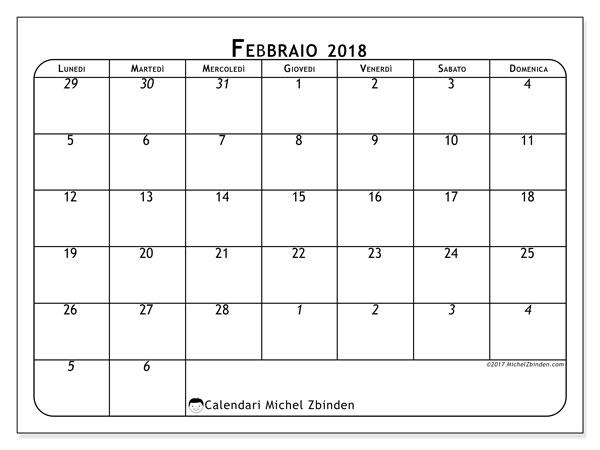 Calendario febbraio 2018 (67LD). Calendario per il mese da stampare gratuitamente.