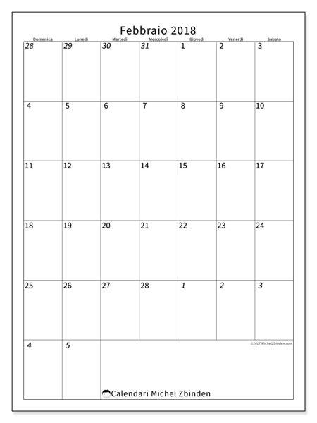 Calendario febbraio 2018 (68DS). Calendario gratuito da stampare.