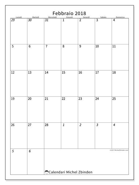 Calendario febbraio 2018 (68LD). Calendario per il mese da stampare gratuitamente.