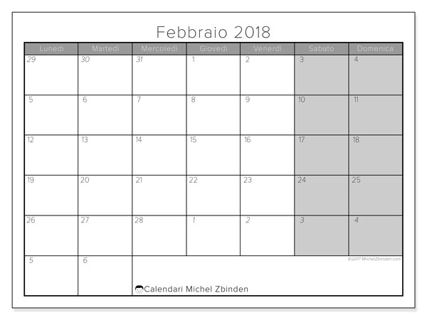Calendario febbraio 2018 (69LD). Orario da stampare gratis.