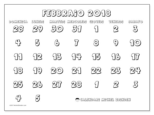 Calendario febbraio 2018 (71DS). Calendario stampabile gratuito.