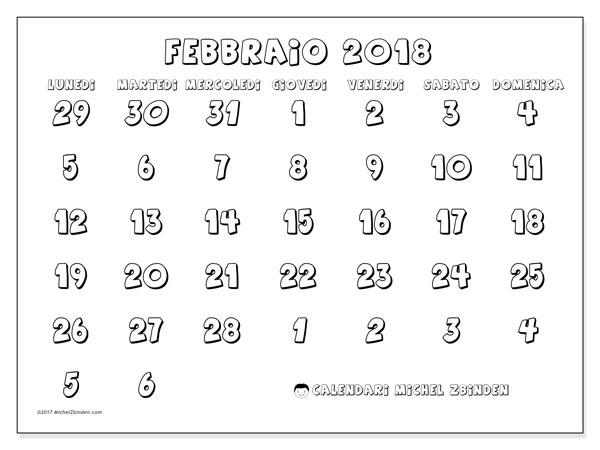 Calendario febbraio 2018 (71LD). Calendario gratuito da stampare.
