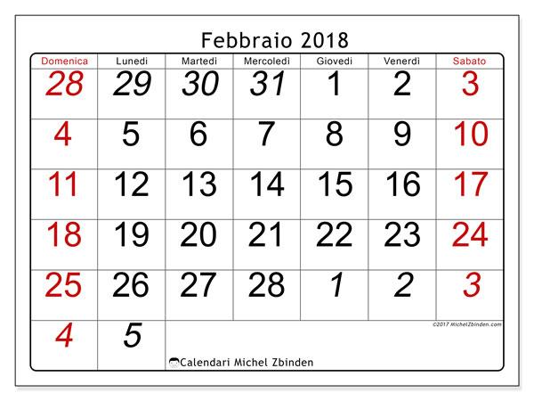 Calendario febbraio 2018 (72DS). Calendario stampabile gratuito.
