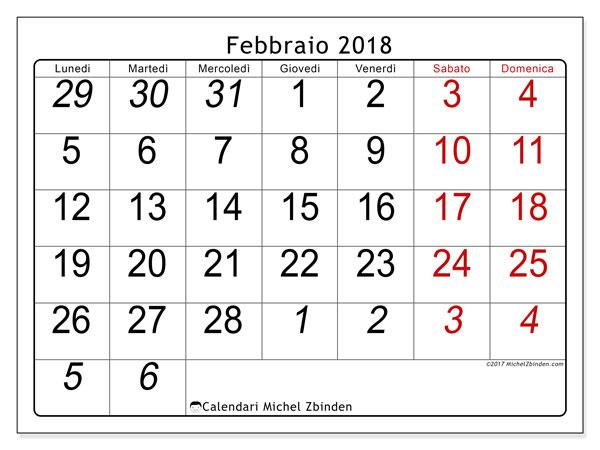 Calendario febbraio 2018 (72LD). Orario da stampare gratis.