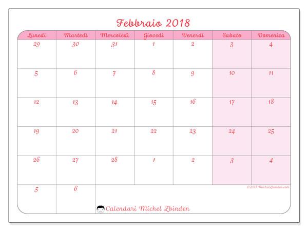 Calendario febbraio 2018 (76LD). Calendario mensile da stampare gratuitamente.