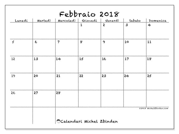 Calendario febbraio 2018 (77LD). Calendario per la stampa gratis.