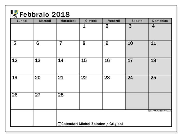 Calendari febbraio 2018, con giorini festivi del Cantone dei Grigioni. Calendario mensile da stampare gratuitamente.