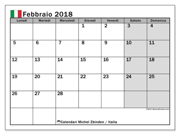 Calendari febbraio 2018, con  in Italia. Calendario mensile da stampare gratuitamente.