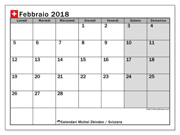 Calendari febbraio 2018, con giorini festivi della Svizzera. Calendario per il mese da stampare gratuitamente.