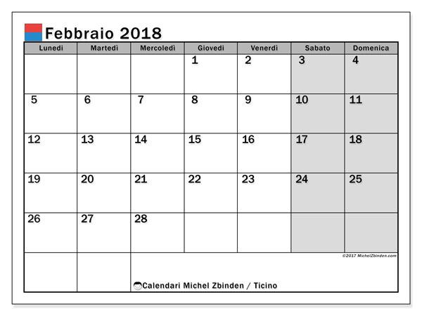 Calendari febbraio 2018, con giorini festivi in Ticino. Calendario mensile da stampare gratuitamente.
