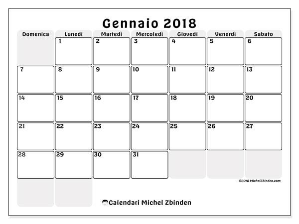 Calendario gennaio 2018 (44DS). Calendario mensile da stampare gratuitamente.
