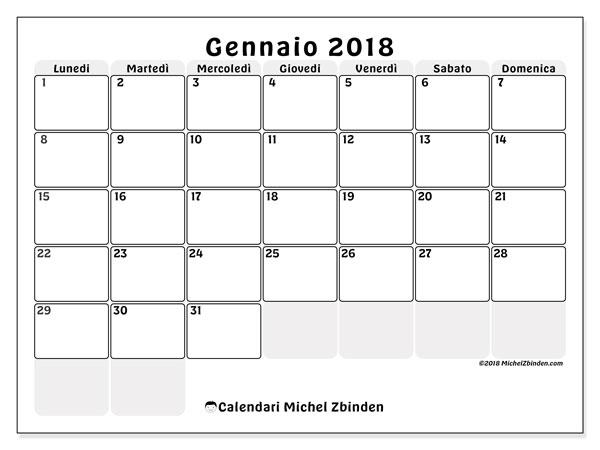 Calendario gennaio 2018 (44LD). Calendario per il mese da stampare gratuitamente.