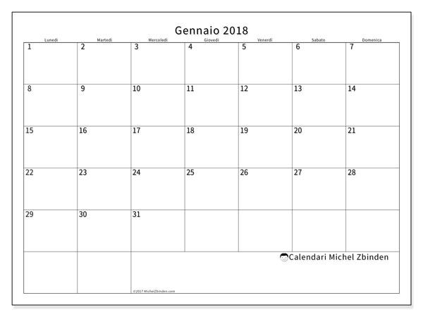 Calendario gennaio 2018 (53LD). Calendario gratuito da stampare.