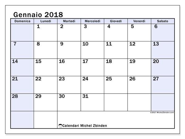 Calendario gennaio 2018 (57DS). Calendario per la stampa gratis.