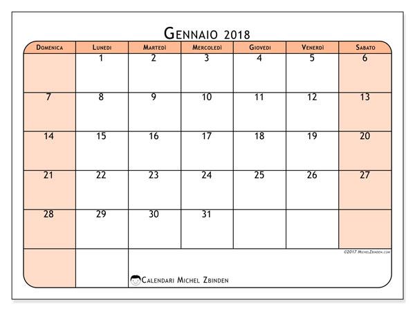 Calendario gennaio 2018 (61DS). Calendario da stampare gratis.