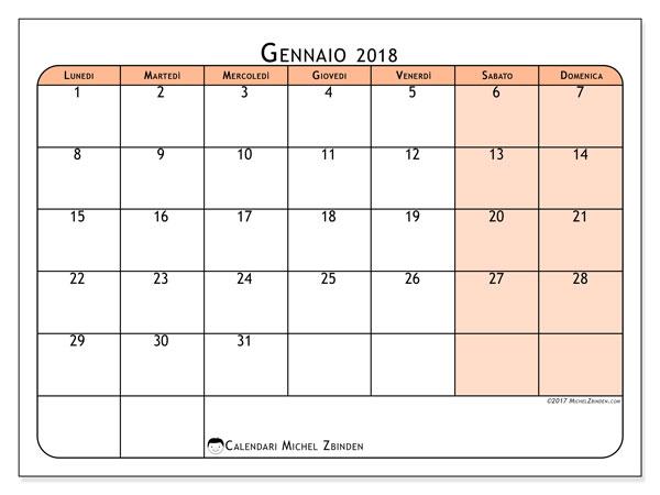 Calendario gennaio 2018 (61LD). Orario da stampare gratis.
