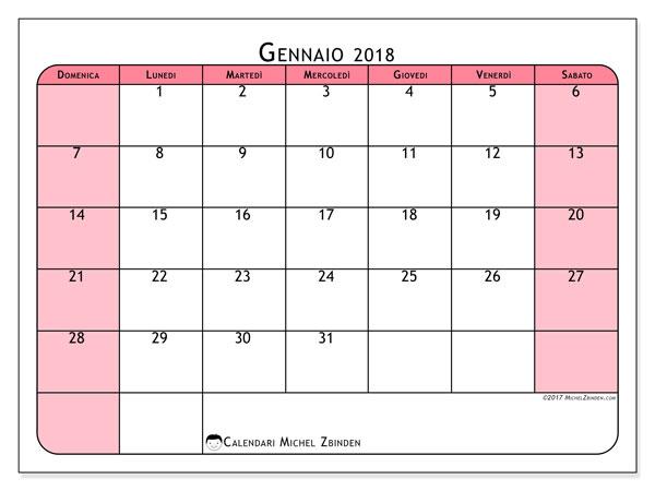 Calendario gennaio 2018 (64DS). Calendario gratuito da stampare.