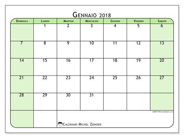 Calendario gennaio 2018 (65DS). Calendario per il mese da stampare gratuitamente.