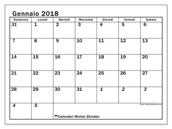 Calendario gennaio 2018 (66DS). Calendario gratuito da stampare.
