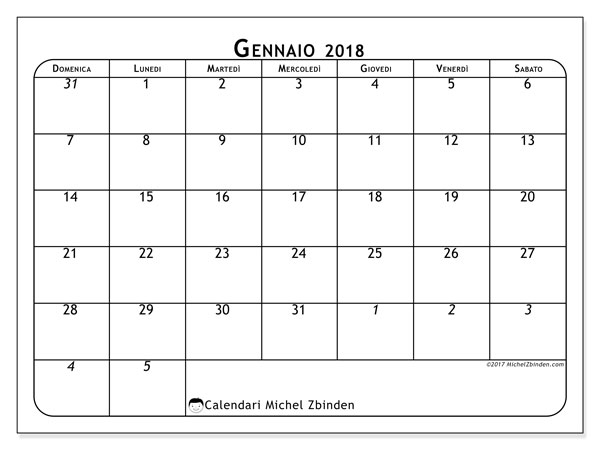 Calendario gennaio 2018 (67DS). Calendario stampabile gratuito.