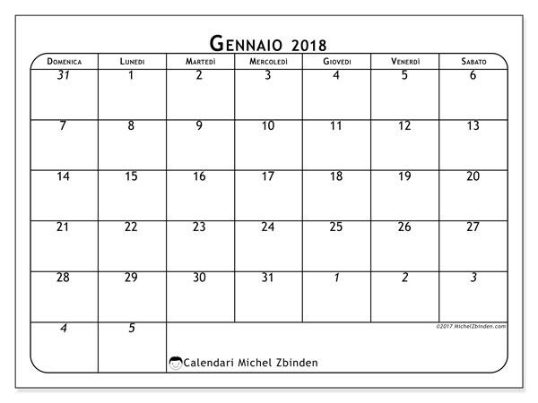 Calendario gennaio 2018 (67DS). Calendario mensile da stampare gratuitamente.