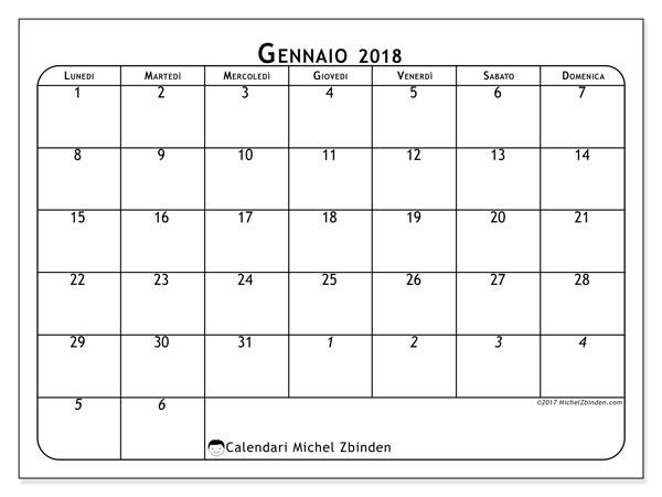 Calendario gennaio 2018 (67LD). Calendario per la stampa gratis.