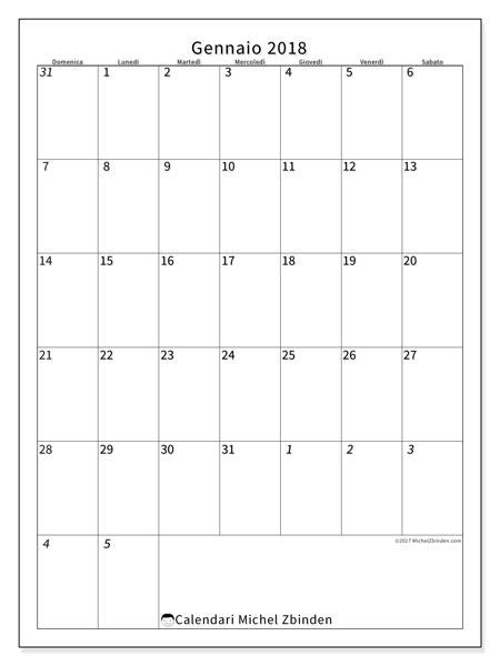 Calendario gennaio 2018 (68DS). Calendario mensile da stampare gratuitamente.