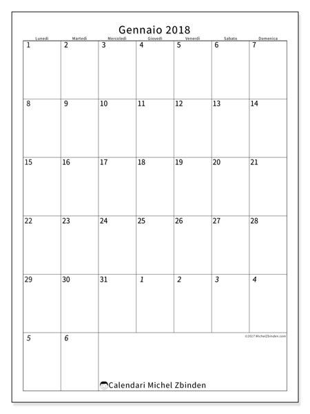 Calendario gennaio 2018 (68LD). Calendario mensile da stampare gratuitamente.