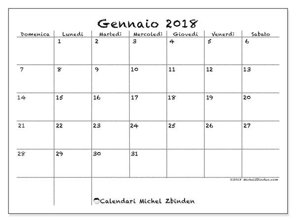 Calendario gennaio 2018 (77DS). Calendario da stampare gratis.