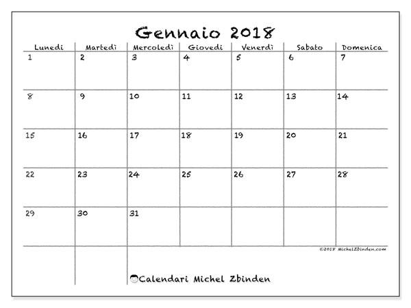 Calendario gennaio 2018 (77LD). Calendario per il mese da stampare gratuitamente.