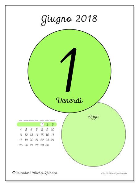 Calendario giugno 2018 (45-1LD). Calendario per il giorno da stampare gratuitamente.